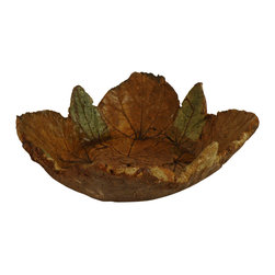 Hand Sculpted Concrete Bowl With Metal Stand, Red Bud & Hydrangea Leaves - This concrete bowl has Hydrangea and Redbud leaf impressions imbedded into it.  All serving pieces have a food safe sealer on them and they are also dishwasher safe! The piece has been stained with an acid stain then neutralized and sealed.  The stain bonds with the concrete so it will not fade in the sunlight. It can be used indoors or out. use it as a serving piece or fruits, chips, etc. or let the birds enjoy it outside as a table top bird feeder