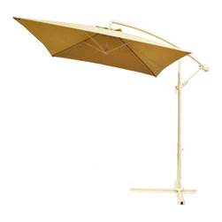 Pier Surplus - Adjustable Taupe Cantilever Square Patio Umbrella with Crank #UB30043 - This taupe patio cantilever umbrella  is constructed with top-quality materials to insure that it can withstand exposure to the elements. The earth tones of the taupe is a great fit for just-about any existing color scheme. Easy to clean, this patio umbrella will turn any afternoon into a relaxing affair. Block dangerous UV rays from the sun while creating a cool spot to enjoy your backyard.