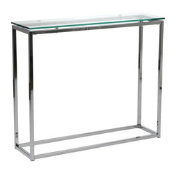 Euro Style - Star Console Table - Clear tempered glass top. Chromed steel frame. 35.83 in. W x 10.04 in. D x 30.31 in. H (24.3 lbs.)Grand ideas for small spaces, the smooth and clean geometric shapes give your rooms a trendy, up-to-date look. The furniture design make your rooms stylish and sophisticated, symbolizing your self confidence.