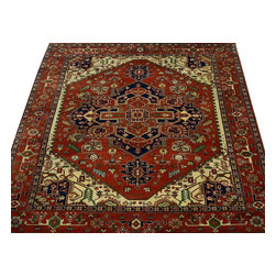Area Rug, 10'X15' Serapi Heriz Hand Knotted Rust Red 100% Wool Rug SH10002 - This collections consists of well known classical southwestern designs like Kazaks, Serapis, Herizs, Mamluks, Kilims, and Bokaras. These tribal motifs are very popular down in the South and especially out west.