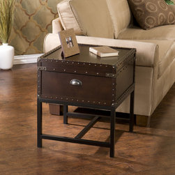 "Wildon Home � - Southport End Table - With a spacious hidden storage compartment and a restyled antique design, this end table is not only beautiful, but functional as well. Studded accents line the edges of this sleek living room table to give it an extra element of design. A metal handle on either end of this table make moving it easy as well, so try it in your living room or even at your bedside for a new look. You may also pair this end table with the matching cocktail table for a complete update. Features: -Black frame.-Antique bronze hardware.-With storage.-Veneer, MDF and metal construction.-Espresso finish.-Top Finish: Espresso.-Base Finish: Black.-Distressed: No.-Powder Coated Finish: No.-Gloss Finish: No.-Base Material: Metal.-Top Material: Manufactured wood; Metal.-Number of Items Included: 1.-Hardware Material: Metal.-Nesting Tables: No.-Non-Toxic: No.-UV Resistant: No.-Scratch Resistant: No.-Stain Resistant: No.-Lift Top: No.-Storage Under Table Top: Yes.-Drop Leaf Top: No.-Magazine Rack: No.-Built In Clock: No.-Drawers Included: No.-Hardware Finish: Bronze.-Exterior Shelves: No.-Cabinets Included: No.-Glass Component: No.-Legs Included: Yes -Number of Legs: 4..-Casters: No.-Lighted: No.-Stackable: No.-Adjustable Height: No.-Outdoor Use: No.-Swatch Available: No.-Commercial Use: No.-Recycled Content: No.-Eco-Friendly: No.-Product Care: Wipe clean with a dry cloth.-Built In Outlets: No.-Powered: No.Specifications: -FSC Certified: No.-EPP Compliant: No.-ISTA 3A Certified: No.-ISTA 1A Certified: No.-General Conformity Certificate: No.-Green Guard Certified: No.-ISO 9000 Certified: No.-ISO 14000 Certified: No.-UL Listed: No.Dimensions: -Overall Height - Top to Bottom: 23"".-Overall Width - Side to Side: 20"".-Overall Depth - Front to Back: 20"".-Table Top Width - Side to Side: 20"".-Cabinets: -Cabinet Interior Height - Top to Bottom: 6"".-Cabinet Interior Width - Side to Side: 18"".-Cabinet Interior Depth - Front to Back: 18""..-Overall Product Weight: 38 lbs.-Legs: Yes.Assembly: -Assembly Required: Yes.-Tools Needed: Screwdriver.-Additional Parts Required: No.Warranty: -Manufacturer provides 1 year warranty for parts.-Product Warranty: 1 Year limited manufacture warranty."
