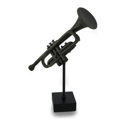 Zeckos - Bronze Finish Decorative Trumpet w/Display Statue Sculptural Statue - This trumpet sculpture is a beautiful way to herald your love for music and musical instruments Crafted from resin, this 9 inch high, 7 inch long, 2 inch wide (23 X 18 X 5 cm) trumpet statue would look amazing on any shelf, tabletop, desk or bookcase whether in your home, at the office, or in your entertainment room featuring a hand-painted antique bronze finish. This trumpet statue is a wonderful gift for both music players and lovers alike sure to be admired