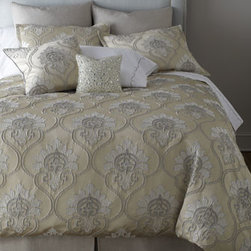 """Jane Wilner Designs - Jane Wilner Designs Marquess King Dust Skirt, 78"""" x 80"""" - Exclusively ours. """"Marquess"""" bed linens by Jane Wilner Designs create a subdued retreat presented in a design of intertwining scrolls, an elegant pattern of dove gray and ivory with just a hint of silver. Duvet cover, standard and king shams, and de..."""