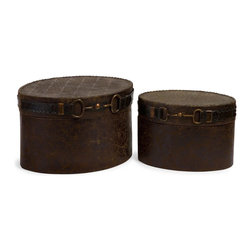 iMax - iMax Equestrian Box Set X-2-6431 - Charming western style set of 2 decorative boxes featuring an equestrian inspired buckle detail.