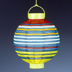Cote D'Azur Stripe Battery-Operated Paper Lanterns, Set of 4 - These colorful striped paper lanterns are the perfect way to add some light to your patio party. They light up from the power of just two AA batteries and you can move them around without worrying about pesky wires.
