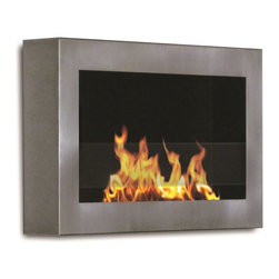 Anywhere Fireplaces - Anywhere Fireplace SoHo, Indoor Wall Mount - The clean, geometric, sophisticated design of the wall mount SoHo model of the Anywhere Fireplace is a stunning addition to any room. It works with any decor. The warm glow created by the dancing flames of the fire will create atmosphere anywhere you wish to hang it   living room, bedroom, family room, dining room, anywhere . Very easy to install on any wall and mounting hardware is included. NEVER SUBSTITUTE ANY OTHER FUEL IN PLACE OF LIQUID FUEL FOR VENTLESS FIREPLACES. ALWAYS READ ALL INSTRUCTIONS ON YOUR FIREPLACE AND THE FUEL BOTTLE