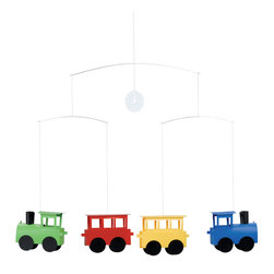 Flensted Mobiles - Locomobile Mobile - Chugga-chugga-choo-choo. These brightly colored little engines CAN inspire smiles and gurgles galore when your sweet baby gazes at them overhead.