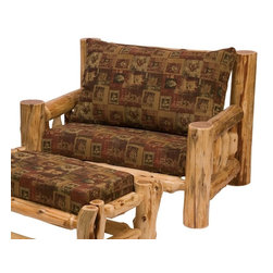 Fireside Lodge Furniture - Cedar Log Chair & a Half w Cushions (Cowhide) - Fabric: CowhideCedar Collection. Includes seat cushions. Ottoman not included. Cushion is a high-density foam with Dacron wra for lasting comfort. Back cushion is an over-stuffed poly foam pillow. Full log back. Northern White Cedar logs are hand peeled to accentuate their natural character and beauty. Individually hand crafted. Clear coat catalyzed lacquer finish for extra durability. 2-Year limited warranty. 46 in. W x 38 in. D x 36 in. H (115 lbs.)