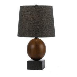 "AF Lighting - AF Lighting Hudson Dark Wood Single Light Table Lamp w/ Dark Tweed Shade - F Lighting 8456-TL Elements ""Hudson"" Single-Light Table Lamp, Finished in Dark Wood and Bronze"