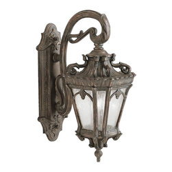 KICHLER - KICHLER Tournai Traditional European Outdoor Wall Sconce X-DL7539 - A scrolling arm holds the traditional lantern shape on this Kichler Lighting outdoor wall sconce. From the Tournai Collection, the delicate beadwork and botanical accents are highlighted in a Londonderry finish and the look is made modern thanks to the clear seedy glass shade. U.L. listed for wet locations.