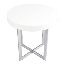Euro Style - Euro Style Oliver Side Table // White Lacquer/Chrome - Tops of veneer or high gloss white lacquer finish off a chrome or stainless steel frame made to last and made to be noticed. The rectangular legs and base crosspieces are put together with the thin edge facing out and up. So like two picture frames they convey an image of strength and space.