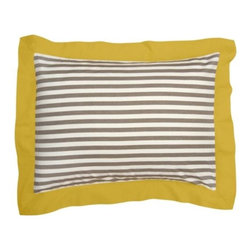 "DwellStudio - Draper Stripe Pillow Sham Pair by DwellStudio - Inspired by early 20th century designer Dorothy Draper's use of large patterns, stripes and color, the DwellStudio Draper Stripe Pillow Sham Pair adorns two standard size pillows in bold, modern stripes. The sateen fabric is yarn-dyed, giving it a rich, buttery feel. Available in an Ash, or Poppy-striped fabric, to coordinate with the Draper Stripe Duvet Set.DwellStudio, founded in 1999 by Christiane Lemieux, specializes in home furnishings steeped in modern design. With a unique sense of color and a strong commitment to quality and innovation, DwellStudio continues to create its own distinctive interpretation of modern home furnishings. In the same creative spirit, the company encourages their customers to experiment with mixing various DwellStudio textile lines together.The DwellStudio Draper Stripe Pillow Sham Pair is available with the following:Details:   Made of 300 thread count woven yarn dyed cotton sateen material  Bold horizontal stripes  100% Egyptian cotton  French-back  3"" flange  Made in IndiaOptions:   Color: Ash, or Poppy.Please Note: All DwellStudio prints are created using low-impact dyes. They contain no heavy metals or other known toxic substances, are azo-free and formaldehyde-free, and meet all criteria for eco-friendly pigments. Packaging has been re-designed to completely eliminate PVC and utilize eco-friendly materials. All products come in a fabric bag or canvas box that can be reused for storage, laundry and travel for zero waste. Machine wash cold. Do not use bleach or detergents containing bleach. Tumble dry low. Warm iron if necessary.Shipping:In Stock items ship within 1 business day. Others usually ship within 2 weeks unless otherwise noted."