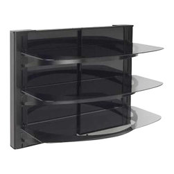 "Sanus - Sanus 31.5"" Tall 3 Shelf Decorator Panel Wall Mounted Furniture - Sanus - Audio Racks - VF5023B1 - The Sanus Foundations Vertical Series VF5023 is an AV component system that mounts directly under a wall-mounted TV for a sleek, streamlined look. Specially designed brackets simplify installation by providing both lateral and vertical adjustment, even after hanging. Cable management channel easily routes cabling behind unit. The VF5023 includes two interchangeable back panels in black glass or mocha-finished wood to match any home decor. Back panels are easily removed for easy access to wall outlets and surge protector. Three thick tempered-glass shelves support up to 75 lbs each and can be vertically adjusted to accommodate any AV component arrangement."