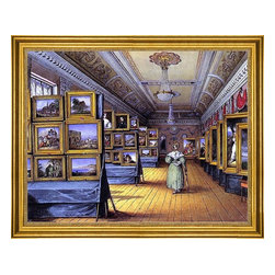 """Mary Ellen Best-18""""x24"""" Framed Canvas - 18"""" x 24"""" Mary Ellen Best Interior of the Great Room at the Hotel du Chevald d'Or, Frankfurt A/M, Open for the Exhibition of Pictures, May 1835 framed premium canvas print reproduced to meet museum quality standards. Our museum quality canvas prints are produced using high-precision print technology for a more accurate reproduction printed on high quality canvas with fade-resistant, archival inks. Our progressive business model allows us to offer works of art to you at the best wholesale pricing, significantly less than art gallery prices, affordable to all. This artwork is hand stretched onto wooden stretcher bars, then mounted into our 3"""" wide gold finish frame with black panel by one of our expert framers. Our framed canvas print comes with hardware, ready to hang on your wall.  We present a comprehensive collection of exceptional canvas art reproductions by Mary Ellen Best."""