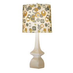 Robert Abbey - Jayne Table Lamp, Artichoke/Tobacco - Playful lighting is a great way to add personality to a room. The bold design and colorful palette of this linen lamp shade, paired with a neutral base, is a perfect pop of interest for any room. Add it to a work desk or bedside table for a fun layer of pattern.