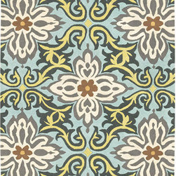 Amy Butler Hand Tufted Wool Rug Temple Garland Blue - This tufted wool rug is a beautiful way to add cool colors and warm flooring to a nursery. I love how the pattern is a modern play on a classic print. Beautiful gray details--this would look great with slate walls.