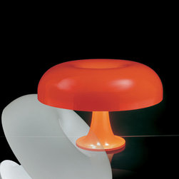 Artemide - Nesso Table Lamp | Artemide - Design by Giancarlo Mattioli/Gruppo Architetti Urbanisti Citta' Nuova, 1967.The Nesso table lamp, part of the Artemide Modern Classics line features a body and diffuser in injection-molded ABS thermoplastic, available in white or orange.The Nesso has achieved international acclaim:Represented in the Twentieth Century Design Collection of the Metropolitan Museum of Art, New YorkIncluded in the Design Collection of the Museum of Modern Art, New YorkPermanent exhibit at the Denver Art Museum, ColoradoRepresented in the Israel Museum, Jerusalem Permanent exhibit at the Musee des Arts Decoratifs de Montreal, MontrealPermanent exhibit at the Museo del Design Italiano, Milan Triennale1st Award Concorso Studio Artemide/Domus, 1965 Milan