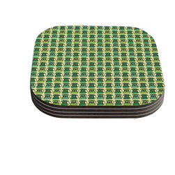 """Kess InHouse - Holly Helgeson """"Vintage Telephone"""" Green Pattern Coasters (Set of 4) - Now you can drink in style with this KESS InHouse coaster set. This set of 4 coasters are made from a durable compressed wood material to endure daily use with a printed gloss seal that protects the artwork so you don't have to worry about your drink sweating and ruining the art. Give your guests something to ooo and ahhh over every time they pick up their drink. Perfect for gifts, weddings, showers, birthdays and just around the house, these KESS InHouse coasters will be the talk of any and all cocktail parties you throw."""