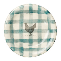 Gingham Rooster Plate - If you're creating a country-inspired tabletop then these gingham plates, complete with rooster drawing, are a must buy.
