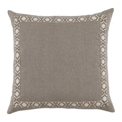 """Lacefield Designs - Natural Linen Pillow by Lacefield Designs - For natural inspiration in your space, keep fabrics neutral and easy. This linen pillow is simply defined with a coordinating trim. Pair with other neutrals for a relaxed palate. (LD) 24"""" square feather down fill"""