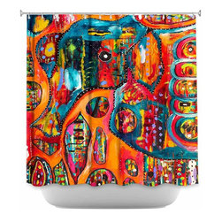 DiaNoche Designs - Shower Curtain Artistic - Abstract Elephant - DiaNoche Designs works with artists from around the world to bring unique, artistic products to decorate all aspects of your home.  Our designer Shower Curtains will be the talk of every guest to visit your bathroom!  Our Shower Curtains have Sewn reinforced holes for curtain rings, Shower Curtain Rings Not Included.  Dye Sublimation printing adheres the ink to the material for long life and durability. Machine Wash upon arrival for maximum softness. Made in USA.  Shower Curtain Rings Not Included.