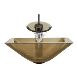 MR Direct - The MR Direct 603 Taupe Oil Rubbed Bronze Bathroom Ensemble Waterfall Faucet - Make a personal design statement with the MR Direct 603-taupe ensemble; a distinctive, vessel-sink and faucet combination. MR Direct glass vessel sinks are created of thick, tempered glass, making them less vulnerable to damage from high temperatures. The non-porous, polished surface is extremely attractive and sanitary; naturally resistant to stains, odors and discoloration. The faucet features solid-brass construction. The ensemble includes a specially-designed, vessel pop-up drain that springs into place with a gentle touch. A matching sink ring is also provided for support of the bowl required for the above-counter installation. Available in your choice of Brushed Nickel, Chrome, and Oil Rubbed Bronze finishes. Limited Lifetime Warranty.