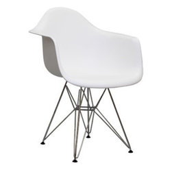 """LexMod - Paris Dining Armchair in White - Paris Dining Armchair in White - Wire Paris Armchairs are crafted out of molded plastic for the seat and a chromed steel wire """"pyramid"""" base. Comfortable and versatile, this chair can be used to decorate any space. Set Includes: One - Paris Wire Armchair Chromed Steel Base, Plastic Non-Marking Feet, For Indoor or Outdoor Use Overall Product Dimensions: 31""""L x 24""""W x 21""""H Seat Height: 18""""H Armrest Height: 25.5""""H - Mid Century Modern Furniture."""