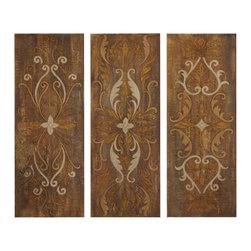 Uttermost Elegant Swirl Panels Set/3 - Crackled canvas on hardback board-antique glaze. These panels are hand painted on crackled canvas with an antiqued glaze. Canvas is stretched and mounted on hardboard. Due to the handcrafted nature of this artwork, each piece may have subtle differences.