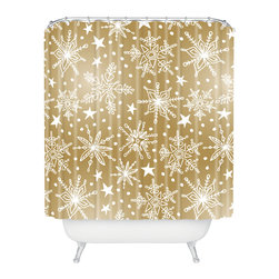 DENY Designs - DENY Designs Heather Dutton Snow Squall Guilded Shower Curtain - Who says bathrooms can't be fun? To get the most bang for your buck, start with an artistic, inventive shower curtain. We've got endless options that will really make your bathroom pop. Heck, your guests may start spending a little extra time in there because of it!