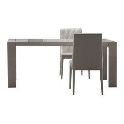 Rossetto - Rossetto Domino Rectangular Dining Table in Ivory with Extension - Rossetto - Dining Tables - R421205543004 - Elegant and minimalist extendable rectangular table characterized by the inlay in chromed steel. Add the Domino dining chairs (sold separately) to complete the dining set collection.