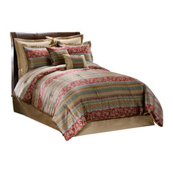Pem America - Hickory Street Queen Comforter Set with 4 Bonus Pieces - Bring a touch of international flavor to your bedroom with the fine jacquard woven pattern that combines foulards, medallions and scrolls of exotic design woven into the comforter and accessories.  Res greens and gold's dominate the face of this comforter