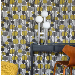 Gracewood Wallpaper by Ferm Living - This bold wallpaper from Ferm Living adds an abstract modern-retro forest to any room of the house. Use it on one accent wall, the ceiling,  or cover the entire room to show off just how groovy your taste is.