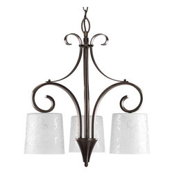 Progress Lighting - Progress Lighting P4448-124 Nicollette Three-Light Single-Tier Chandelier - 3-Light Chandelier in a Brushed Nickel finish. The tapered drum glass shades feature a classic damask scroll pattern etched into the glass.Features: