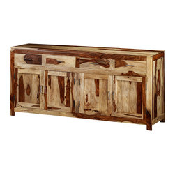 Artemano - Yada Sideboard Made of Rosewood , Natural - The Yada Sideboard is a grand and luxurious dining room buffet made of high-quality, durable Indian rosewood. This four drawer, four door, distinctive sideboard is available in three finishes and is embellished with brushed silver handles. The gorgeous tones and textures of this solid wood, along with all of its storage space, make this sideboard the perfect piece for any dining room that can accommodate it.