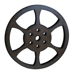 UMA - Classic Movie Reel Media Art - An oversized, classic movie reel that makes a statement in a media room or entertainment space