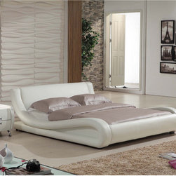 None - Dona 2-piece Ivory Modern Bed Set - You'll love the modern style of this bed set with its curved rails upholstered in faux leather finished in ivory. The sturdy wood construction ensures that this elegant and sleek bed set lasts for years to come.