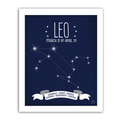 Leo Constellation Print, 8x10 - Leo traits featured in the banner: Generous • Warm • Artistic • Dynamic • Independent • Creative