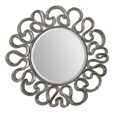 "Uttermost - Aeneas Round Silver Mirror - The Generous, 1 1/4"" Beveled Mirror Is Accented By A Curvaceous Frame Finished In Silver Leaf With A Light Gray Wash."