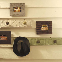 Ceiling Tile Hat Racks - These ceiling tile hat racks will add character to any area of your home. Fashioned from recycled antique ceiling tin and old door knobs and then painted, there are two sizes available in white and sage.