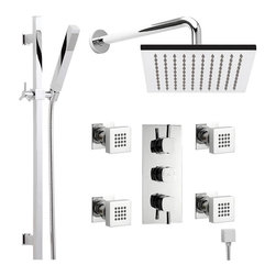 """Hudson Reed - Thermostatic Shower System Chrome With 7"""" Rain Head Handspray Rail Kit & 4 Jets - The Hudson Reed Kia Thermostatic Triple Shower Valve (3 Outlet) features square controls for fingertip control. Constructed from brass and with modern ceramic disc technology, this chrome finish minimalist shower valve supplies water to either the fixed shower head, handset or 4 body jets."""