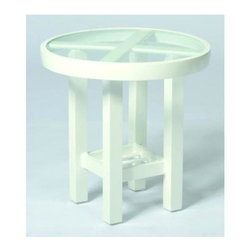 Woodard - 18 in. Elite Round End Table - Clear Glass - All products are made to order. Orders cannot be cancelled after 5 calendar days. If order is cancelled after 5 calendar days, a 50% restocking fee will be applied. Aluminum frame. Height: 17.5 in. H
