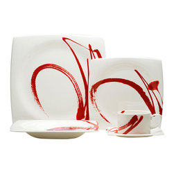 Red Vanilla - Red Vanilla Paint It Red 5-piece Dinnerware Set - Add artistic flair to your dinner table with this bold dinnerware set. All five pieces in the set are coordinated by realistic red brushstrokes that contrast well against white backgrounds. Because the pieces are dishwasher-safe,cleaning them is easy.