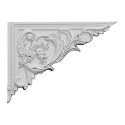 "Ekena Millwork - 8 5/8""W x 6 1/4""H x 5/8""D Flower Stair Bracket, Right - With the beauty of original and historical styles, decorative stair brackets add the finishing touch to stair systems.  Manufactured from a high density urethane foam, they hold the same type of density and detail as traditional plaster stair bracket products.  They come factory primed and can be easily installed using standard finishing nails and/or polyurethane construction adhesive."