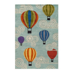Grandin Road - Hot Air Balloon Area Rug - 2'x 3' - Adorable and plush handcarved area rug. Hand-tufted construction. 100% modacrylic. Extend the life of your rug with a Nonslip Rug Pad (sold separately). Let your imagination take off: our sculpted Hot Air Balloon Indoor Area Rug invites a colorful group of balloons and windy swirls to take the floor of your child's playroom or nursery.. . . .