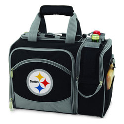 Picnic Time - Pittsburgh Steelers Malibu Picnic Pack in Black - Insulated pack with picnic service for 2 made of 600D polyester canvas. The elegant and unique Malibu shoulder pack is perfect for picnics, concerts, or travel. This tote has an integrated wine storage section and a spacious food storage section with removable liner. The adjustable shoulder strap makes it easy to carry. A wonderful gift idea.; Decoration: Digital Print; Includes: 2 Wine glasses (acrylic), 2 Napkins (cotton 14 x 14 in.), 1 Corkscrew (waiter style stainless steel), 1 Cutting board (wood 6 x 6 in.), 1 Cheese knife (stainless steel w/wood handle), 2 Plates (melamine 9 in.), 2 Ea. Knives forks & spoons (stainless steel), 2 Napkins (cotton 14 x 14 in.)