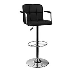 Powell - Powell Black and Chrome Quilted Barstool - A stylish, faux leather quilted seat lends itself to the contemporary styling of this Black and Chrome Bar Stool.  Finished with a round sturdy footrest and a gas-lift mechanism for convenient height adjusting, this piece combines function, comfort and style.  300 pound weight capacity.  BIFMA 5.1 and EN1335 standard testing passed and approved. Some assembly required.