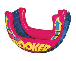 Poolmaster - Aqua Rocker Fun Float - Rock and roll all summer long with the aqua rocker fun float. Its extra-wide body is made of rugged 14-gauge vinyl and accommodates from 2 to 4 kids. The interior features a translucent ladder design for a good view of the action. The main body is shaped like a large seesaw and has multiple air chambers for safety and a smooth ride. When you're done hit the quick-deflate valve and pack it up.