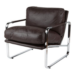 White Line Imports - Magi Chocolate Leatherette Chair - Features: