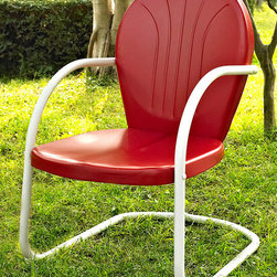Crosley Furniture - Metal Chair in Red - UV resistant. Warranty: 90 days. Made from steel. Non-Toxic powder coated finish. Assembly required. 28.5 in. W x 21 in. D x 34.5 in. H (15 lbs.)Relax outside for hours on our nostalgically inspired Griffith metal outdoor furniture. Kick back while you reminisce in this sturdy steel chair, designed to withstand the hottest of summer days and other harsh conditions. The chairs non-toxic, powder-coated finish is available in various colors to complement your outdoor accessories.