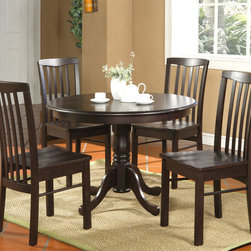 """East West Furniture - 5Pc Hartland Table 42"""" Round Table and 4 Wood Seat Chairs - 5Pc Hartland Table 42"""" Round Table and 4 Wood Seat Chairs - Black Walnut Finish; Sleek Antique dinette set adds sophistication to any kitchen or breakfast nook.; Wrapped in a warm black walnut finish to compliment any decor.; The 36-inch round tabletop with beveled edges is beautiful enough to display fine china and sturdy enough for a family barbeque.; Supported by a graceful 30-inch pedestal stand that features four elegantly carved legs.; Four color-coordinated, slatted, high-backed kitchen chairs features graceful curves from top to bottom and stylish detailing.; Chair seats are available in wood or upholstered that is swathed in a camel-colored microfiber cover that make the inevitable food and drink spills a cinch to clean up.; Weight: 114 lbs; Dimensions: Table: 42""""L x 42""""W x 29.5""""H; Chair: 18""""L x 17.5""""W x 38""""H"""